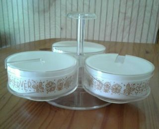 Vintage Pyrex Gemco Butterfly Gold Condiment Server Lazy Susan With Lids Euc