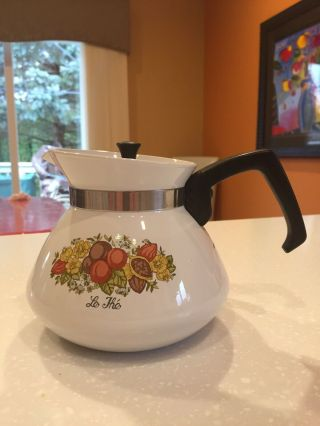 Vintage Corning Ware P - 104 6 Cup Tea Pot Spice Of Life With Lid/top Made Usa