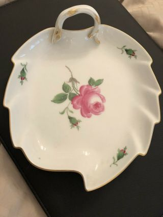 Vintage Meissen Handpainted Pink Rose Leaf Shape Large Candy Dish W Handle Bowl