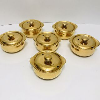 Hall Usa Golden Glo 477 Set 6 Ovenproof Lidded Casseroles Ramekins 22k Vintage