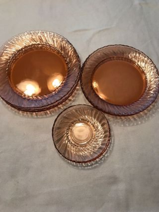 Vintage 4 Pink Depression Glass Dinner Plates,  Salad Plates And 2 Saucers
