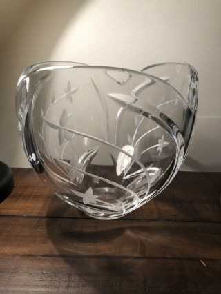 , Unique,  Vintage Lenox Cut Clear Crystal Bowl With Vines & Leaves