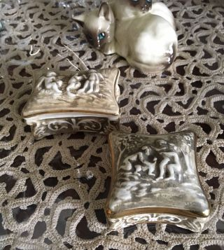 Vintage R Capodimonte Trinket Boxes Italy Rectangle Box 7cm Square Box 6cm