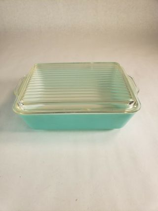 Vintage Pyrex Turquoise Robins Egg Covered Refrigerator Dish & Lid 0503 & 503 - C