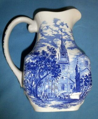 Vintage Staffordshire England Liberty Blue North Church Water Milk Pitcher