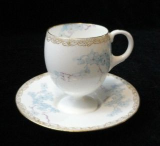 Vintage Antique Royal Doulton Burslem Eng.  Pedestal Chocolate/ Demi Cup & Saucer