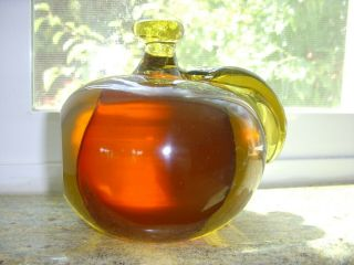 Vintage Honey Amber Hand Blown Glass Paperweight 3.  5 Lb Murano