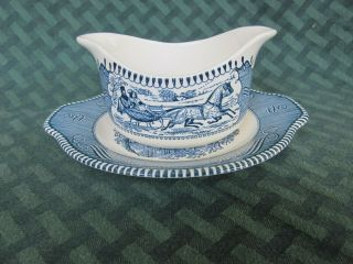 Vintage Currier And Ives Royal China Blue Transferware Gravy Boat & Underplate