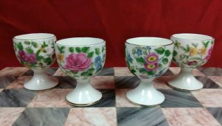 4 Vintage Crown Staffordshire Fine Bone China Egg Cups - Old Green Mark