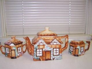 Vintage Cottage Ware Keele St.  English Pottery Teapot,  Cream And Sugar