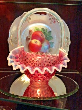 "Vintage Fenton Light Cranberry Basket 8 "" Iridescent Handle & Milk Ruffle"