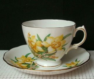 Vintage Royal Vale Footed Tea Cup & Saucer Yellow Spring Daffodils Bone China