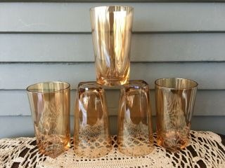 Set Of 5 Vintage Amber Iridescent Square Bottom Drinking Glasses Tumblers 5 ""