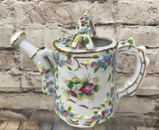"Porcelain Vintage Flowered Watering Can 4 3/4"" Made In Japan Floral Ornate"