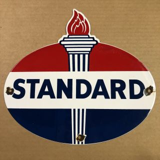 Vintage Porcelain Standard Oil Gasoline Sign Service Station Shell Texaco Gas