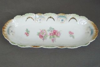 Vtg Serving Dish Condiment Bread Oblong Germany Floral Gold Accents Scalloped