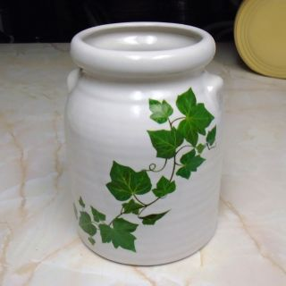 Vintage 1990s Harris Potteries Hand Painted Stoneware Kitchen Utensil Crock Ivy