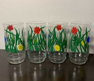 Vintage Primary Colored Libbey Set Of 4 Libbey Drinking Glasses