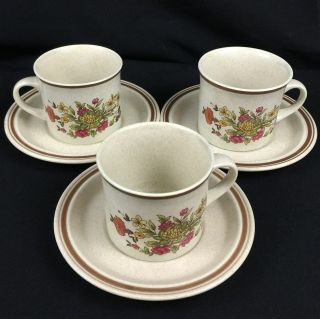 Set Of 3 Vtg Cups And Saucers By Royal Doulton Gaiety Brown Ls1014 England