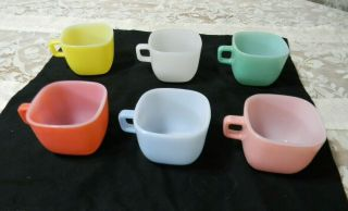 Vntg Glasbake Lipton Square Mugs / Soup Cup Bowls Pastel Retro Complete Set Of 6