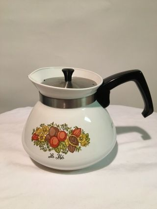 Vtg 1970s Corning Ware Spice O Life Teapot Coffee Pot 6 - Cup Stovetop