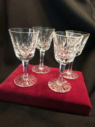 Set Of 4 Vintage Waterford Crystal Lismore Cordials Liqueurs Glasses Ireland