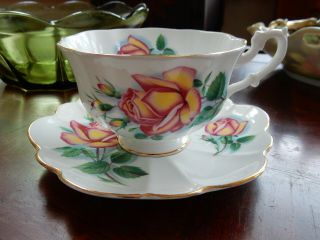 Retro Artist Signed Vintage Shelley England Big Roses Cup & Saucer Bone China