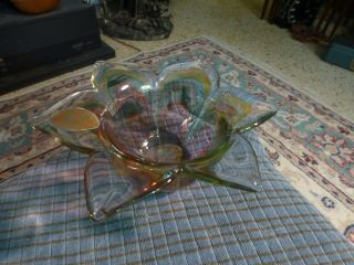Vintage Hand Blown Murano Style Art Glass Flower Lilly Bowl Italy Vg