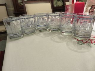 "6 Vtg Georges Briard 4 1/8 "" Double Old Fashioned Glass Tumblers Sailing Ships Ex"