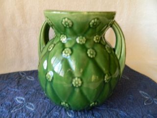 Vintage Shawnee Pottery Green Two Handled Vase 827 Quilted Daisy Design