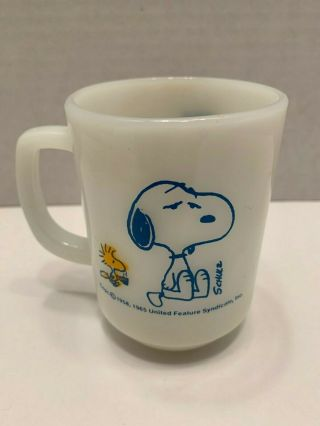 Vintage 1965 Peanuts Snoopy Fire - King Milk Glass Coffee Mug,  Coffee Break