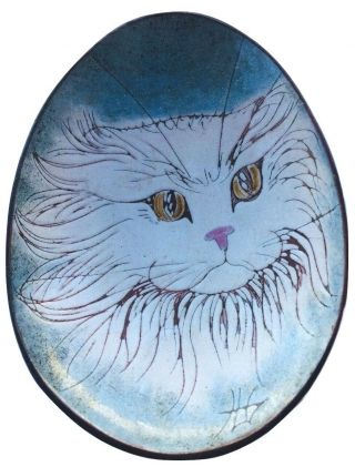 Vintage Chelsea Pottery Cat Bowl Wall White Cat Persian 22665