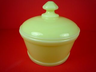 Vintage Yellow Custard Glass Dish With Lid Farmhouse Kitchen