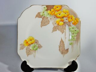 Vintage Shelley Bone China Yellow Flower Floral Square Side Cake Bread Plate