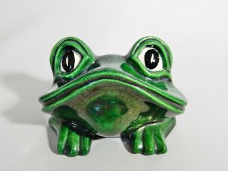 Vintage Retro Green Pottery Frog Figure Artist Signed Lona Yona Unknown Maker