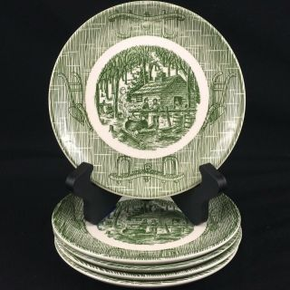 Set Of 5 Vtg Bread Plates Scio Currier & Ives Old Mill Green Plow Maple Sugaring