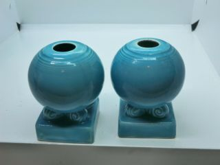 Vintage Fiestaware Turquoise Bulb Ball Candle Holders