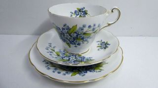 Vintage Regency English Bone China Violets Trio Teacup Cup Saucer Plate