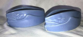 """2 Vintage Art Pottery Us Air Force Hat Cap Shaped 4 """" Containers Ww Ii ? Unmarked"""