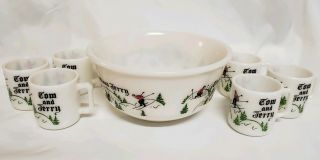 Vtg Tom & Jerry Milk Glass Punch Bowl Set Incl.  6 Matching Cups.  Ski Holiday.