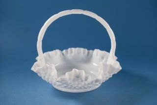 Vtg Fenton Glass Hobnail Basket White Milk Glass