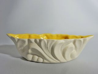 Stunning Vintage Retro Australian Pottery White Yellow Trough Vase Dish Pot 502