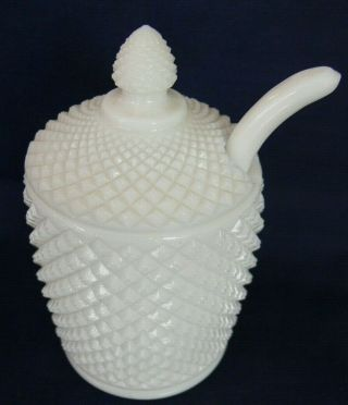 Vintage Milk Glass Covered Jam / Jelly Jar With Ladle / Spoon