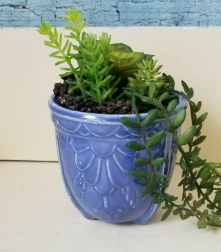 Vintage Art Deco Shawnee Art Pottery Blue Planter 3 Footed
