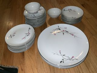 Vtg Cherry Blossom 1067 Fine China Of Japan 42 Piece Dinnerware Pink Gray Floral