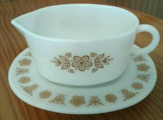 Vintage Pyrex Gravy Boat With Underplate Butterfly Gold 2 Pc.  Set Euc