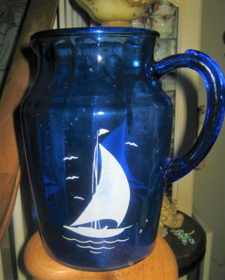 Vintage Cobalt Blue Glass Water Pitcher With Sailboats 9 Inch