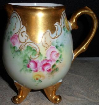 Vintage Hand Painted China Creamer Footed Cream Pitcher Gold Accent Bavaria J&c