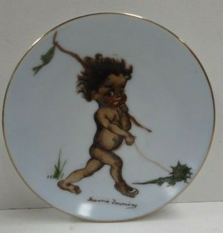 Vintage Brownie Downing Wall Plate Aboriginal Boy Frill Lizard Australia Pottery