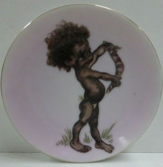 Vintage Brownie Downing Wall Plate Aboriginal Boy & Boomerang Australia Pottery